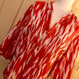 WOMENS 2X ST. JOHNS BAY BLOUSE top SHIRT striped